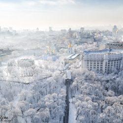 Прекрасная туманная зима в Киеве с высоты