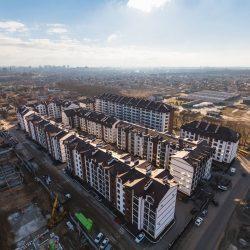 Аэросъёмка процесса строительства жилых комплексов, стройки, архитектуры