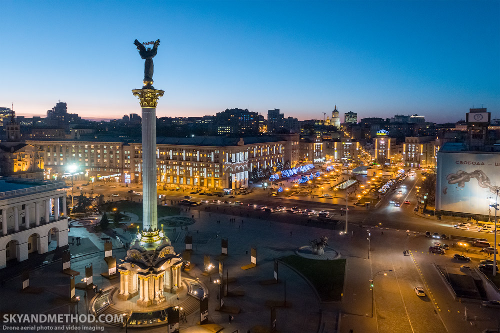 Ночной Киев на новогодние праздники 2018 | Аэросъёмка в Киеве и Украине. Фото, видео, FPV