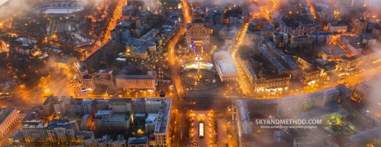 Вечерний Крещатик с высоты и Майдан Незалежності